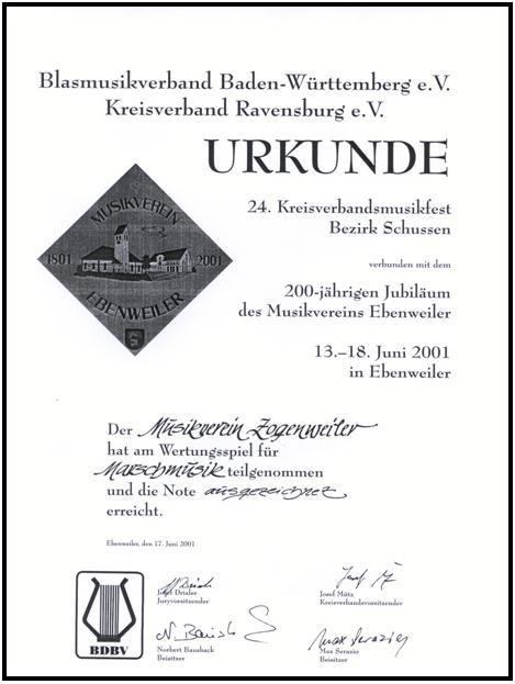Marschmusikwettbewerb in Ebenweiler